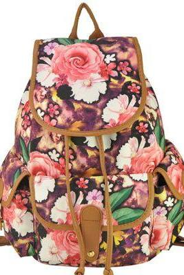 Floral party camping girl backpack
