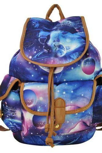 Moon space travel canvas cool school backpack