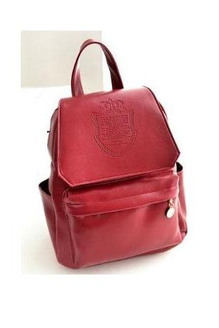 Fashion college girl red Pu leather cool backpack