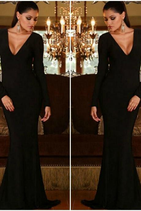 Sexy V Neck Black Low Back Mermaid Dress