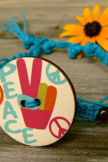 Macrame Peace sign anklet