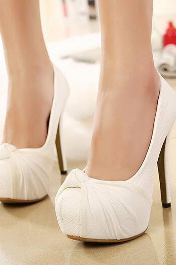 Classy Bow Design beige High Heel Shoes