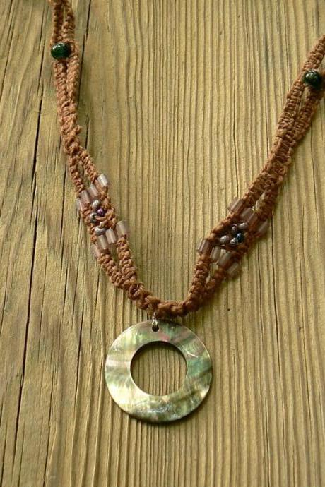 Extra long macrame hemp necklace with a Mother of Pearl pendant