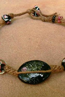 Pink beaded hemp anklet