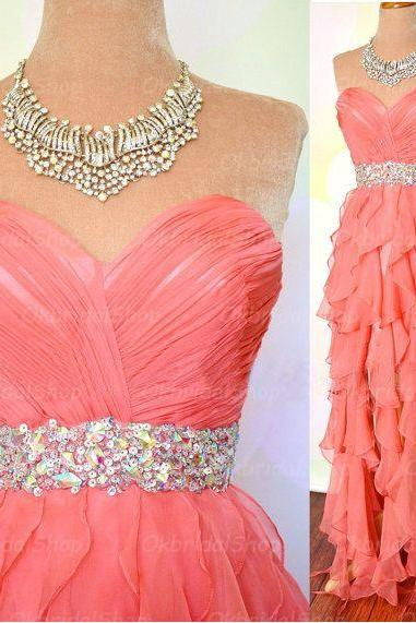 coral prom dresses, high low prom dress, sexy prom dresses, organza prom dresses, 2015 prom dresses, sexy prom dresses, dresses for prom, CM224