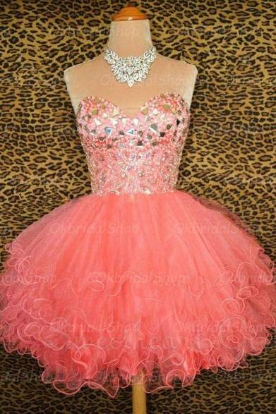 short coral prom dresses, coral prom dresses, 2015 prom dresses, homecoming dresses, dresses for prom, CM227