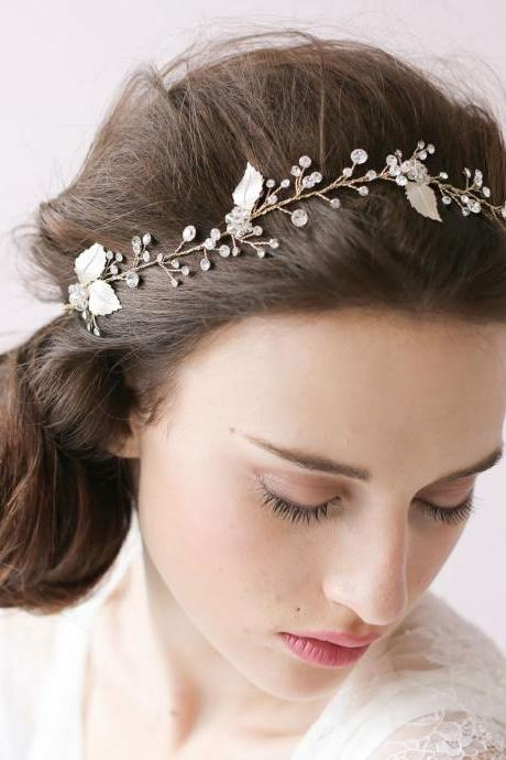 Bridal Accessories hair, Wedding Hair Accessories, Silver Leaf Wedding Hair Accessories, bridemaid headband