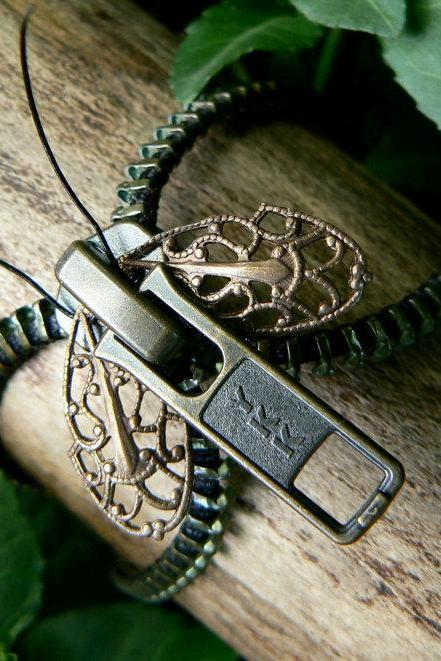Steampunk Moth Zipper Bracelet