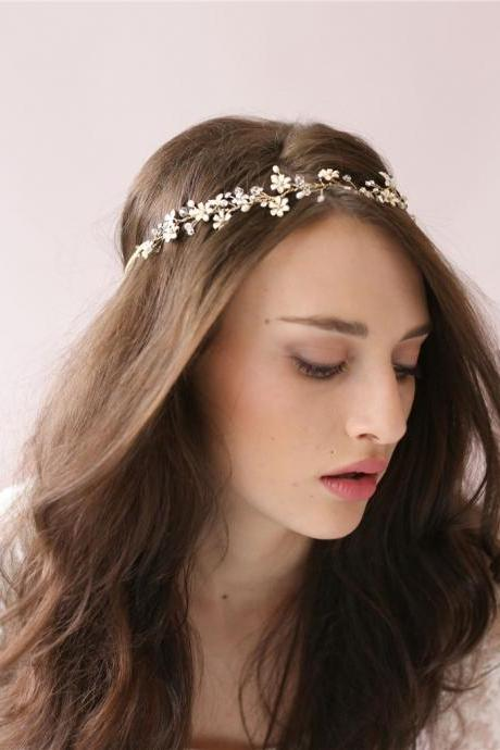 Bride Gold Crystal Flowers Hairbands Wedding Hair Accessories Bridal Headpiece Rhinestone Head Jewelry,bridal headpiece, wedding headpiece,
