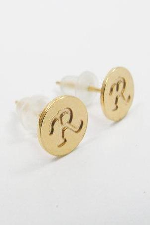 Initial earrings.* Personalized gold initial post earrings. Choose any letter. 8mm initial stud earrings, personalized gift