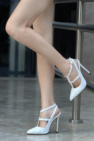 2015 new fashion Hot Rivet Pointed Toe High Heels