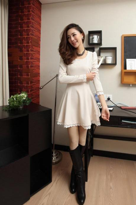 Elegant Lace-Up Trim Long Sleeve A-line Dress