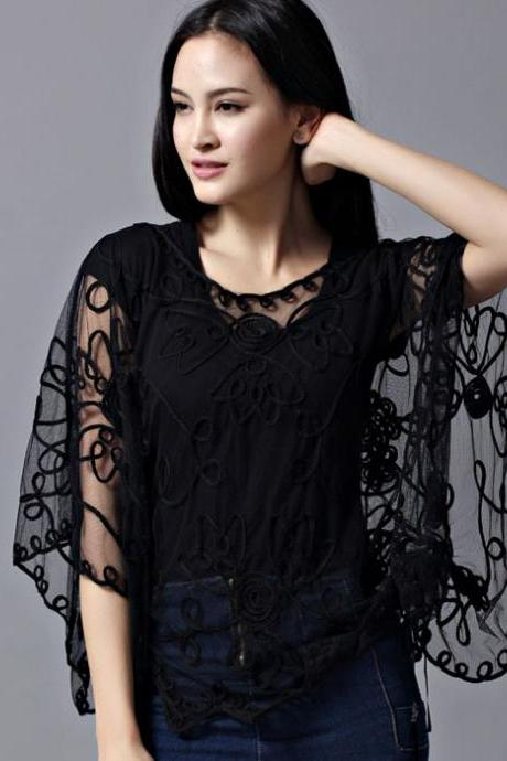 Hollow Out Crochet Batwing Blouse Top Summer Tulle Cape
