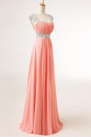Pretty Cap Sweetheart Sequins Chiffon Prom Dresses 2015, Formal Gown, Evening Dresses, Party Dresses, Prom Dresses 2015