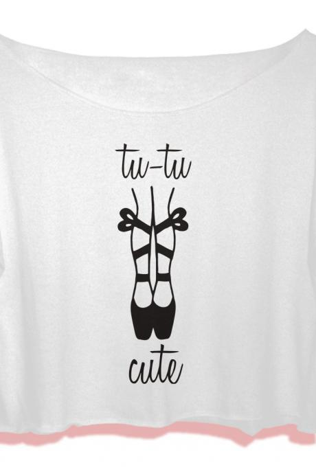 tutu cute ballet point tshirt women crop top tu tu cute crop tee ballet shirt all size black white Pinterest Tumblr