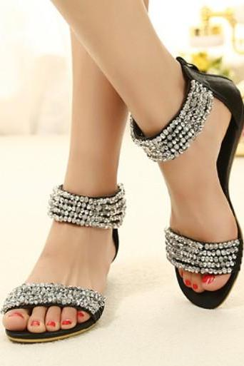 Bohemian Diamond Design Black Flat Fashion Sandals