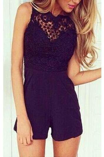 Fashion Patchwork Design Backless Round Neck Rompers - Black