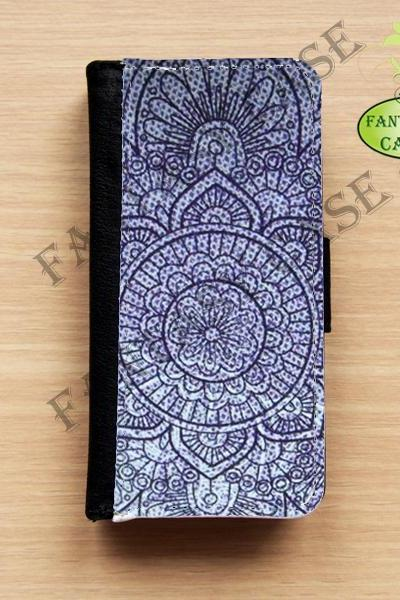 Violet Bohemian - iPhone 5 Wallet Case, Leather iphone 5s case, iPhone 6 Wallet Case, Leather iPhone 6 Case, Flip Case