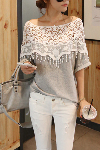 Cute Grey Top With Beautiful Lace Detail