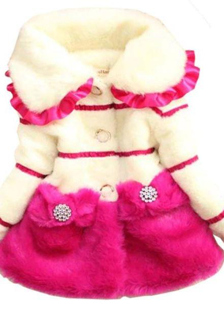 Hotpink Coats Ruffled Big Collar Winter Trench Coats for Girls Big lapel Jacket Pink Jackets for Girls