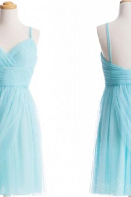 Spaghetti straps Backless Chiffon Bridesmaid Dress Short Prom Dress Evening Dresses Spd203