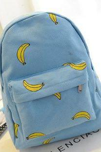 Banana Print Canvas School Backpack