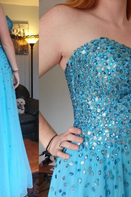 Pd528 Charming Prom Dress,Strapless Prom Dress,A-Line Prom Dress,Sequined Prom Dress,Chiffon Prom Dress