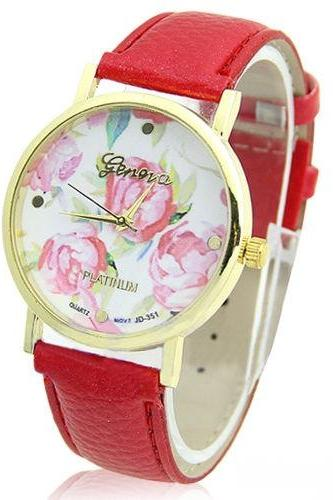 flower watch, flower leather watch, floral watch, red watch, leather watch, bracelet watch, vintage watch, retro watch, woman watch, lady watch, girl watch, unisex watch, AP00091