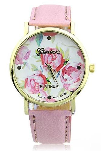 flower watch, flower leather watch, floral watch, pink watch, leather watch, bracelet watch, vintage watch, retro watch, woman watch, lady watch, girl watch, unisex watch, AP00092