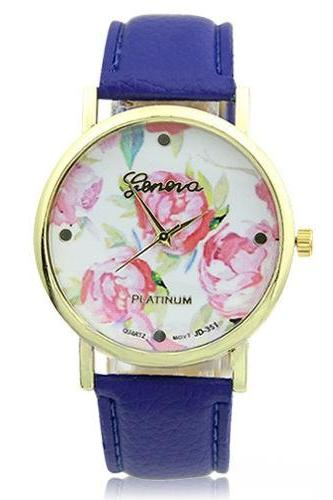 flower watch, flower leather watch, floral watch, purple watch, leather watch, bracelet watch, vintage watch, retro watch, woman watch, lady watch, girl watch, unisex watch, AP00095