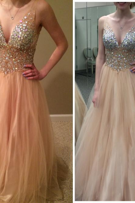 Pd536 Charming Prom Dress,V-Neck Prom Dress,A-Line Prom Dress,Sequined Prom Dress,Tulle Prom Dress