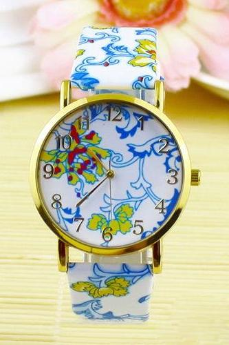 flower watch, flower leather watch, floral watch, leather watch, bracelet watch, vintage watch, retro watch, woman watch, lady watch, girl watch, unisex watch, AP00099
