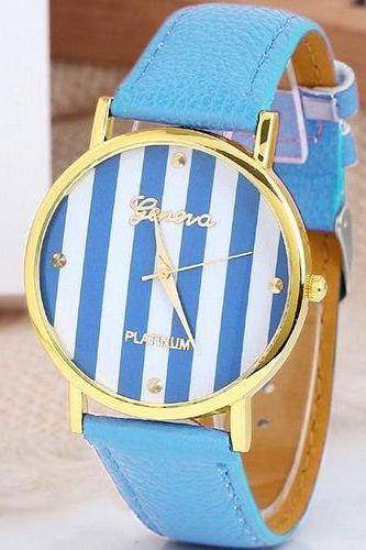 stripe watch, stripe leather watch, leather watch, bracelet watch, vintage watch, retro watch, woman watch, lady watch, girl watch, unisex watch, AP00100