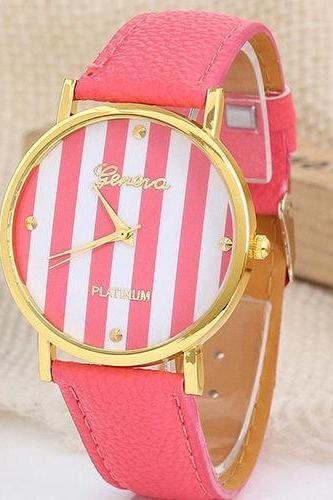stripe watch, stripe leather watch, leather watch, bracelet watch, vintage watch, retro watch, woman watch, lady watch, girl watch, unisex watch, AP00101