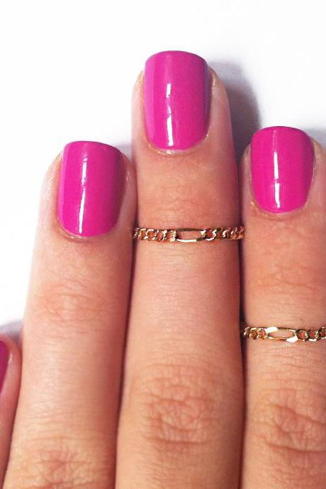 2 Above the Knuckle Rings - 14k gold filled thin chain rings - set of 2 gentle midi rings