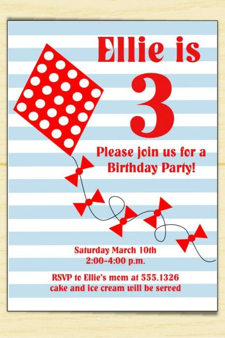 Let's Go Fly a Kite Birthday Invitation (set of 10)