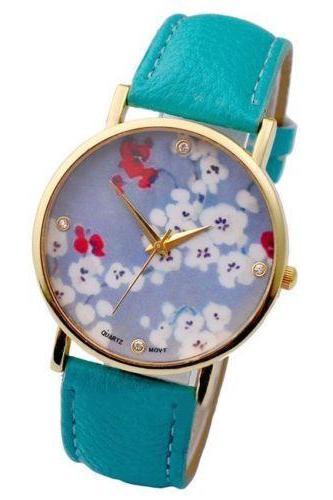 flower watch, flower leather watch, floral watch, leather watch, bracelet watch, vintage watch, retro watch, woman watch, lady watch, girl watch, unisex watch, AP00108