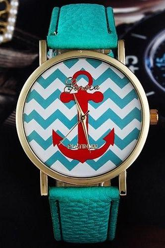 Anchor watch, anchor leather watch, leather watch, bracelet watch, vintage watch, retro watch, woman watch, lady watch, girl watch, unisex watch, AP00112