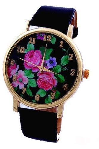 flower watch, flower leather watch, floral watch, leather watch, bracelet watch, vintage watch, retro watch, woman watch, lady watch, girl watch, unisex watch, AP00119