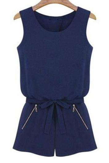 Navy Blue Crew Neck Sleeveless Romper Featuring Bow Accent Waist and Front Zipper Detailing