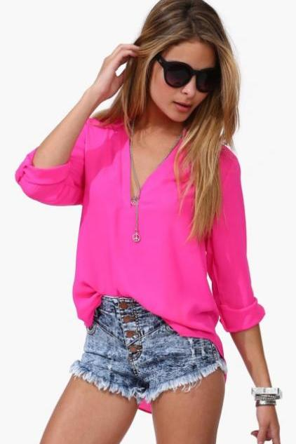 New Rose Red Solid Chiffon Shirt