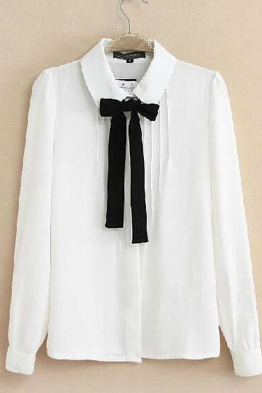 White Long Sleeve Chiffon Shirt