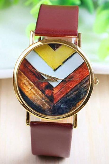 arrow watch, arrow leather watch, brown watch, leather watch, bracelet watch, vintage watch, retro watch, woman watch, lady watch, girl watch, unisex watch, AP00125