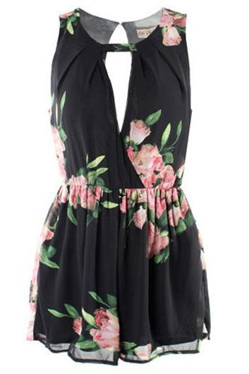 Black Floral Print Sleeveless Romper with Crew Neck and Cutout Detailing