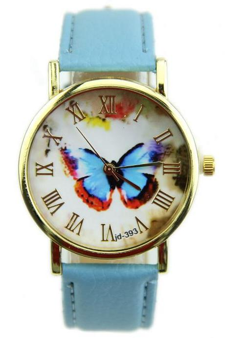 butterfly watch, leather watch, bracelet watch, vintage watch, retro watch, woman watch, lady watch, girl watch, unisex watch, AP00137