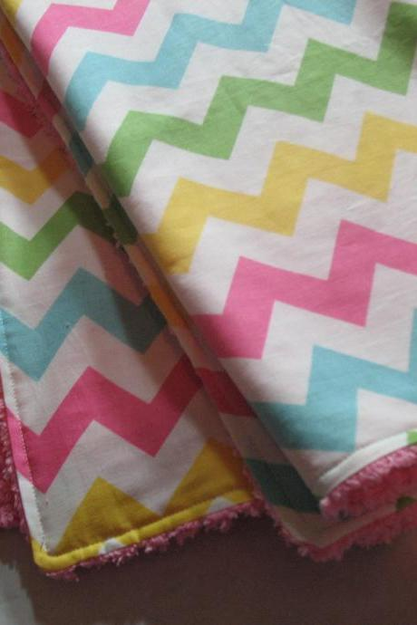 Baby Blanket Chevron Stripes Girl Pink Chenille