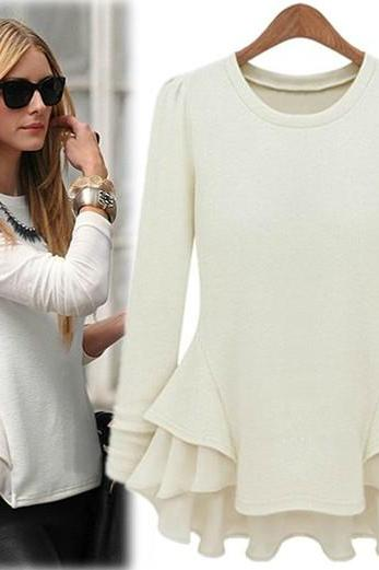 Fashion O Neck Long Sleeve White Cotton Blouse