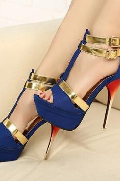 Fashion Metallic Stiletto High Heels Blue Suede Ankle Strap Sandals