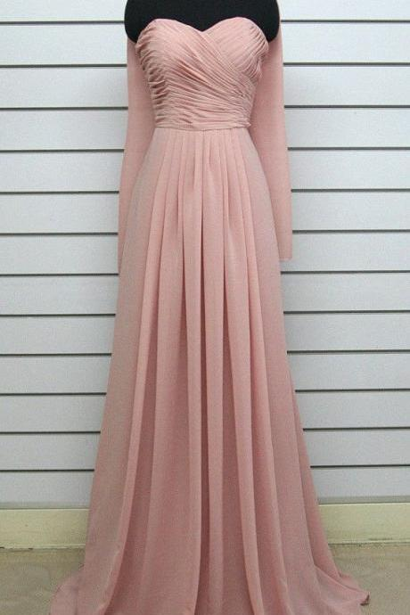 Elegant Peach Pink Simple Chiffon Handmade Prom Dresses, Light Pink Bridesmaid Dresses, Simple Prom Dresses, Formal Gowns