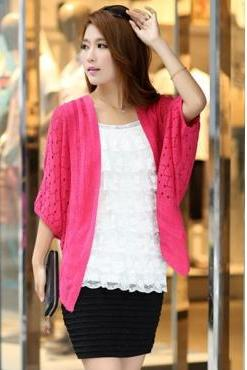 New Style Half Bat Sleeves Hollow-Out Red Rose Regular Cardigan Sweater